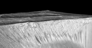 Seasonal dark streaks in Garni Crater