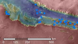 Seasonal dark streaks especially common in Valles Marineris